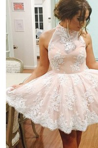 Fashion Mini Length A-line Sleeveless Champagne Homecoming Party Dress Zipper