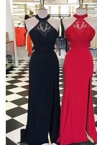 Best Scoop With Train Black Prom Party Dress Elastic Woven Satin Sweep Train Sleeveless Beading and Lace