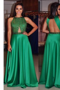 Fashionable Green Satin Backless Scoop Sleeveless Floor Length Celebrity Dress Beading