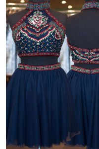 Discount Navy Blue Tulle Zipper Dress for Prom Sleeveless Knee Length Embroidery