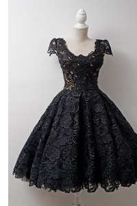 Simple Scoop Black Cap Sleeves Lace Zipper Prom Evening Gown for Prom and Party