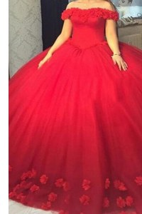 Fantastic Off The Shoulder Short Sleeves Homecoming Dress Hand Made Flower Red Tulle