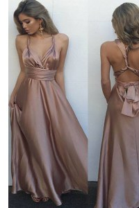 Unique Floor Length Pink Prom Dresses Satin Sleeveless Pleated