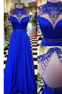 Chiffon High-neck Sleeveless Sweep Train Backless Beading Prom Party Dress in Royal Blue