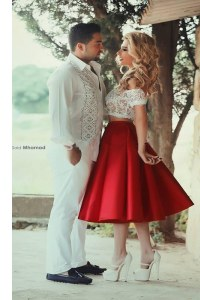 Best Off the Shoulder Lace Prom Gown Red Zipper Short Sleeves Tea Length