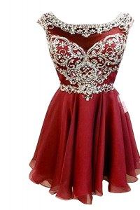 New Style Bateau Cap Sleeves Prom Dresses Mini Length Beading and Sashes ribbons Burgundy Chiffon