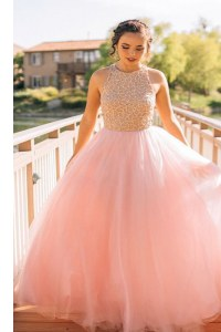 High End Scoop Tulle Sleeveless Floor Length Dress for Prom and Beading