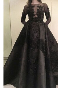 Discount Beading and Appliques Prom Party Dress Black Zipper Long Sleeves Floor Length