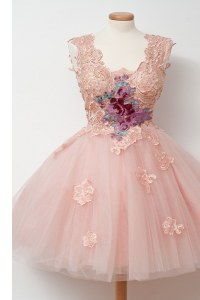Sleeveless Appliques and Embroidery Zipper Prom Evening Gown