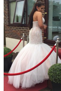 Lovely Mermaid Halter Top Sleeveless Tulle Floor Length Backless Prom Homecoming Dress in White with Beading and Ruching