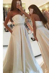 Floor Length White Evening Dress Satin Sleeveless Beading and Lace