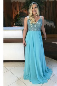 Sweep Train A-line Prom Party Dress Baby Blue V-neck Chiffon Sleeveless With Train Backless