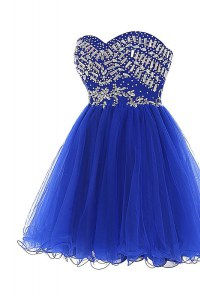 Custom Made Royal Blue A-line Sweetheart Sleeveless Tulle Mini Length Zipper Beading Prom Evening Gown