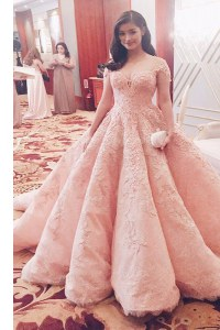 Pink A-line Sweetheart Short Sleeves Tulle With Train Sweep Train Zipper Lace Prom Dresses