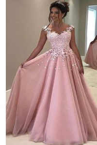 Sophisticated Pink A-line Appliques Prom Evening Gown Zipper Tulle Sleeveless With Train