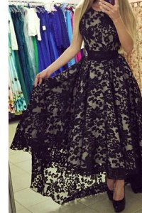 Best Selling Black A-line Scoop Sleeveless Lace Asymmetrical Zipper Lace Prom Dress
