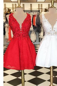 Lace Knee Length A-line Sleeveless Red Prom Gown Zipper