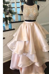 Custom Design Peach Zipper Scoop Beading Dress for Prom Satin Sleeveless