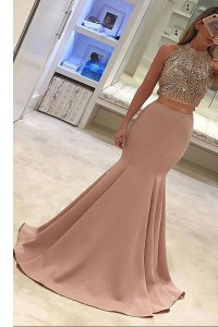Mermaid Elastic Woven Satin Scoop Sleeveless Sweep Train Zipper Beading Prom Evening Gown in Peach