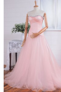 Fine Organza Sweetheart Sleeveless Sweep Train Zipper Beading and Ruching Formal Evening Gowns in Pink