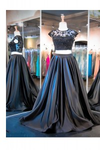 Taffeta Scoop Sleeveless Brush Train Clasp Handle Lace and Ruching Prom Gown in Black