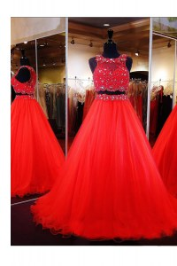 Glittering Scoop Coral Red A-line Beading Zipper Organza Sleeveless Floor Length