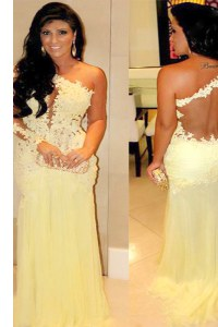 Perfect Floor Length Light Yellow Dress for Prom One Shoulder Long Sleeves Side Zipper