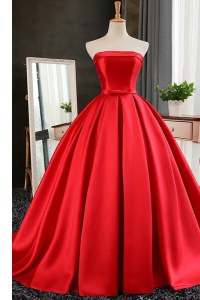 Red Ball Gowns Satin Strapless Sleeveless Pleated Lace Up Evening Dress Sweep Train