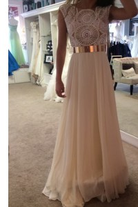 Scoop Sleeveless Organza Prom Dresses Belt Zipper