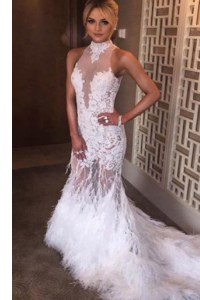 Noble White Backless Prom Evening Gown Lace Sleeveless Court Train