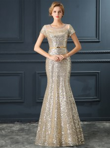 Mermaid Scoop Short Sleeves Floor Length Sequins and Belt Zipper Evening Dress with Silver