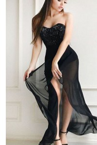 Black Sleeveless Floor Length Sequins Lace Up