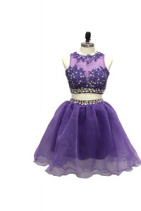 Dramatic Scoop Sleeveless Tulle Knee Length Side Zipper Cocktail Dress in Lavender with Beading and Appliques