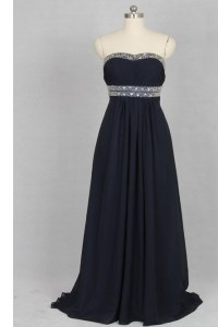 Beauteous Black Column/Sheath Beading Prom Dress Criss Cross Elastic Woven Satin Sleeveless With Train