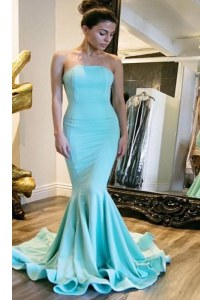 Delicate Mermaid Sleeveless Sweep Train Zipper With Train Ruching Prom Dresses