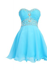 Fantastic Baby Blue Chiffon Lace Up Sweetheart Sleeveless Knee Length Pageant Dress for Teens Beading