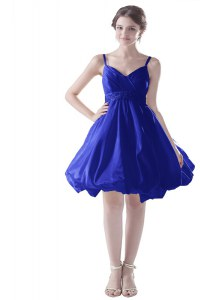 Sleeveless Satin Knee Length Zipper Dress for Prom in Royal Blue with Beading