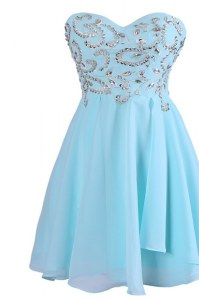 Knee Length Blue Custom Made Pageant Dress Chiffon Sleeveless Embroidery