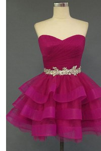 Beading Prom Dress Fuchsia Lace Up Sleeveless Mini Length