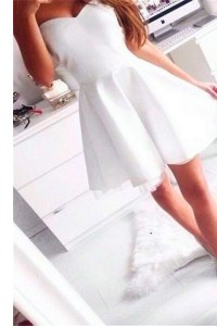 White Zipper Dress for Prom Ruching Sleeveless Mini Length