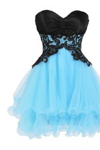 Customized Mini Length A-line Sleeveless Blue And Black Cocktail Dress Lace Up
