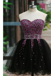 Black A-line Beading Prom Dress Lace Up Organza Sleeveless Knee Length
