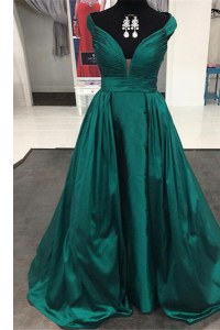 Off the Shoulder Zipper Prom Dresses Teal for Prom with Pleated Sweep Train