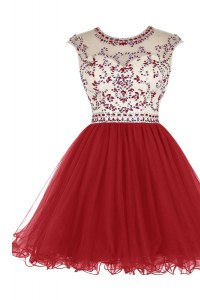 Ideal Scoop Cap Sleeves Tulle Mini Length Zipper Dress for Prom in Wine Red with Beading