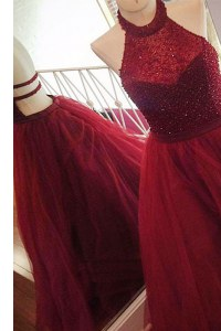 Burgundy Halter Top Backless Beading Prom Dress Sweep Train Sleeveless
