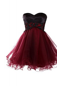 Sexy A-line Burgundy Sweetheart Tulle Sleeveless Knee Length Zipper