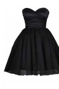 Sweetheart Sleeveless Prom Dress Knee Length Ruching and Belt Black Tulle