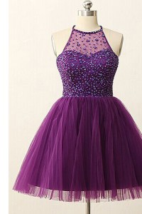 Shining Scoop Purple Sleeveless Sequins Mini Length Pageant Dresses