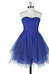 Sleeveless Tulle and Lace Knee Length Zipper Cocktail Dresses in Royal Blue with Belt