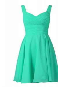 Off the Shoulder Turquoise Zipper Prom Dress Pleated Sleeveless Knee Length